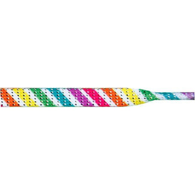"Glitter 3/8"" Flat Laces - Candy Stripe (1 Pair Pack) Shoelaces from Shoelaces Express"