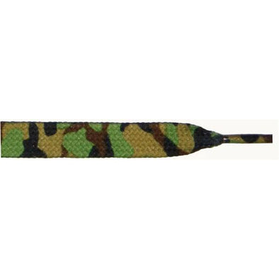 "Printed 3/8"" Flat Laces - Green Camouflage (12 Pair Pack) Shoelaces from Shoelaces Express"