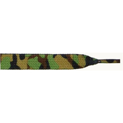 "Printed 3/8"" Flat Laces - Green Camouflage (1 Pair Pack) Shoelaces from Shoelaces Express"