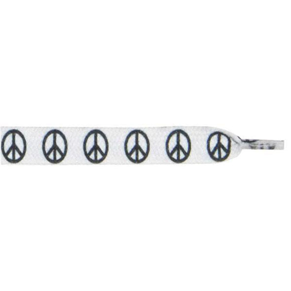 "Wholesale Printed Flat 3/8"" - Peace Sign (12 Pair Pack) Shoelaces from Shoelaces Express"