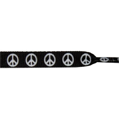 "Printed Flat 3/8"" - Peace Sign on Black (12 Pair Pack) Shoelaces from Shoelaces Express"