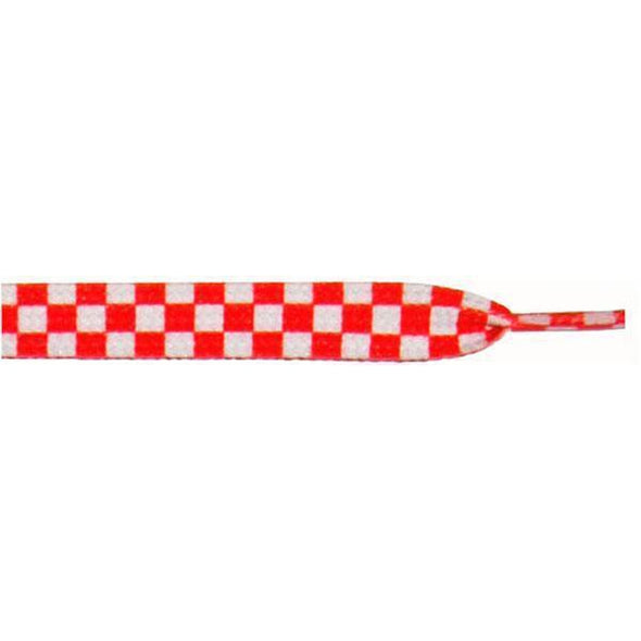 "Wholesale Printed Flat 9/16"" - White/Red Checker Large (12 Pair Pack) Shoelaces from Shoelaces Express"