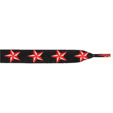 "Wholesale Printed Flat 9/16"" - Big Red Stars (12 Pair Pack) Shoelaces from Shoelaces Express"
