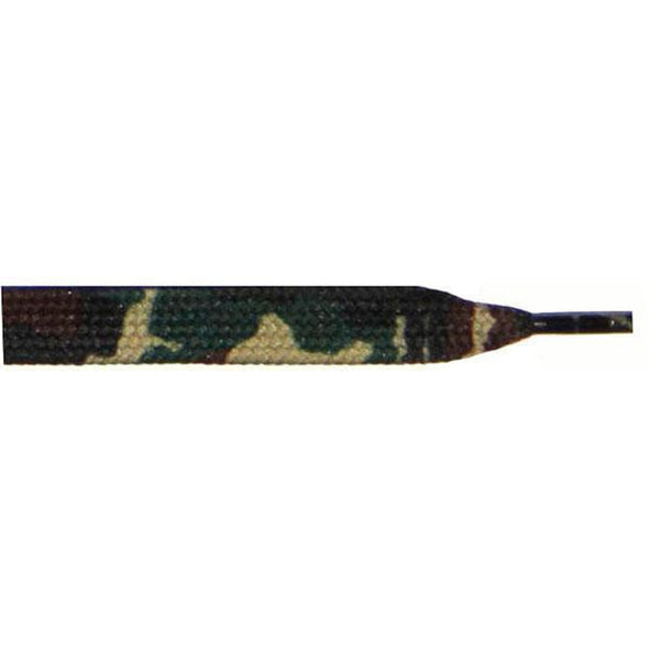 "Wholesale Printed Flat 9/16"" - Olive Camouflage (12 Pair Pack) Shoelaces from Shoelaces Express"