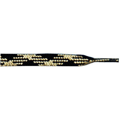 "Wholesale Metallic Thin Flat 3/8"" - Gold/Black (12 Pair Pack) Shoelaces from Shoelaces Express"