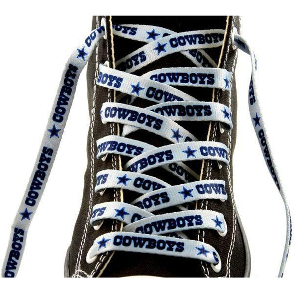 NFL LaceUps - Dallas Cowboys - Silver (1 Pair Pack) Shoelaces from Shoelaces Express