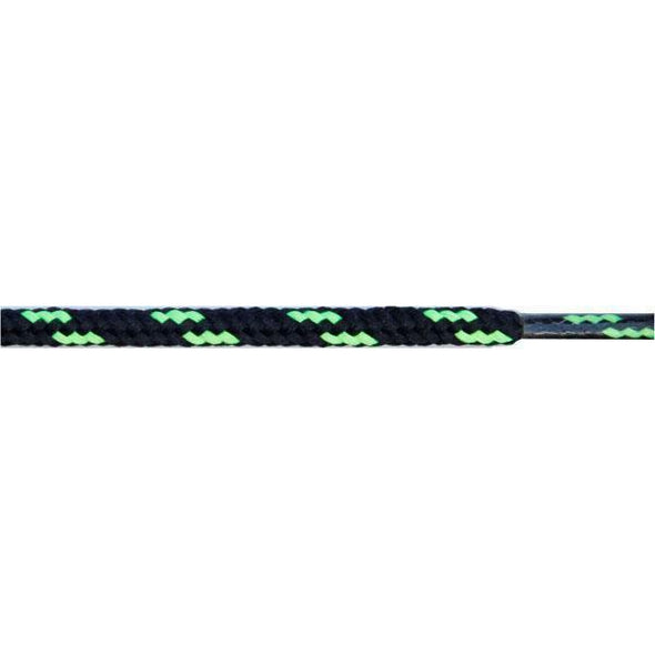 "Wholesale Round Dual Tone 3/16"" - Black/Neon Green (12 Pair Pack) Shoelaces from Shoelaces Express"