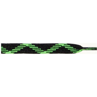 "Wholesale Thick Dual Tone Flat 9/16"" - Black/Neon Green (12 Pair Pack) Shoelaces from Shoelaces Express"