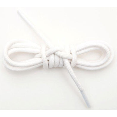 Waxed Cotton Round Laces Custom Length with Tip - White (1 Pair Pack) Shoelaces from Shoelaces Express