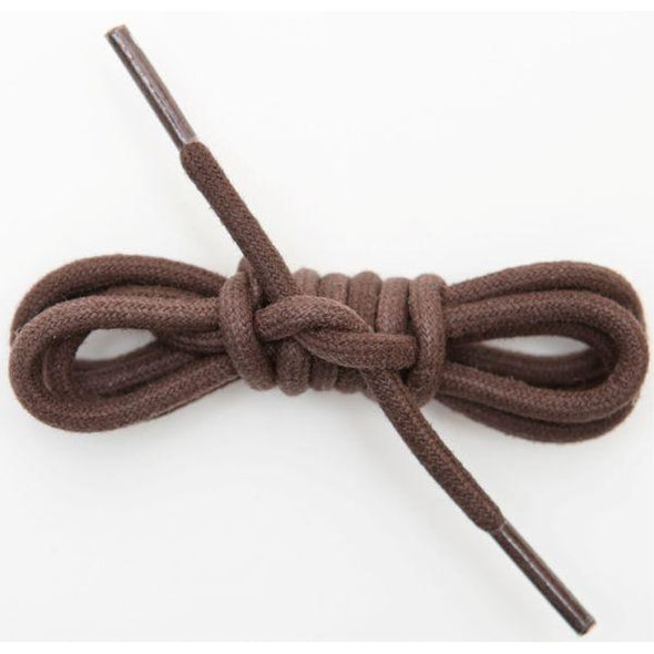 Waxed Cotton Round Laces Custom Length with Tip - Brown (1 Pair Pack) Shoelaces from Shoelaces Express