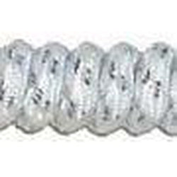Curly Laces White Metallic Silver 6""