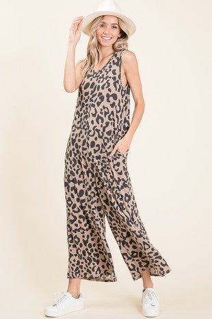 Sleeveless Animal Print Jumpsuit with Pockets