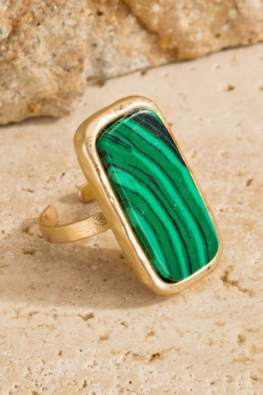 Rectangle Natural Stone Ring