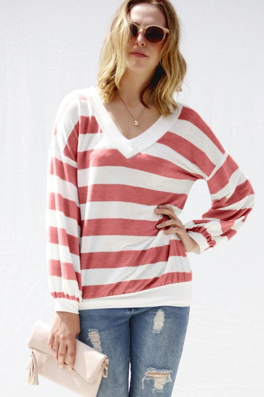 V-Neck Striped Top with long puff sleeve