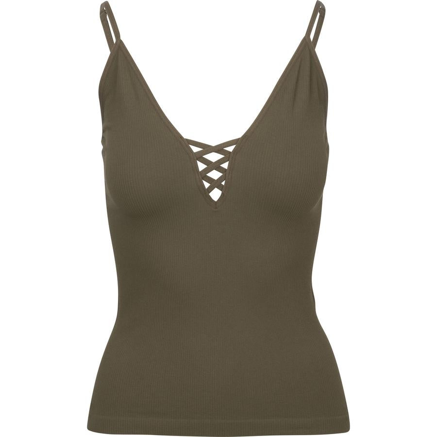 Ribbed Criss Cross Cami Olive