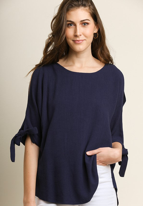 Umgee Linen Blend Open Shoulder Top