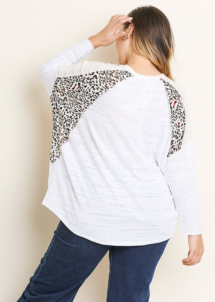 Umgee Knit Top with Animal Print