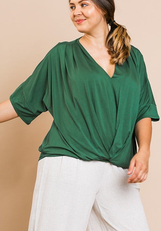 Umgee V-Neck Top with Dolman Sleeves