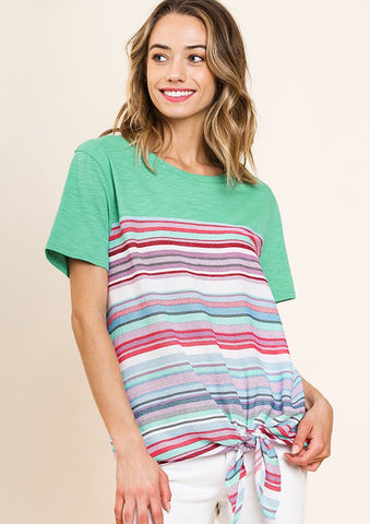 Umgee Striped Round Neck Top