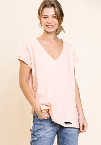Umgee Short Sleeve V-Neck Knit Top