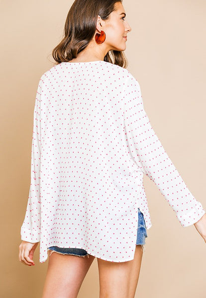 Umgee Swiss Polka Dot V-Neck Top