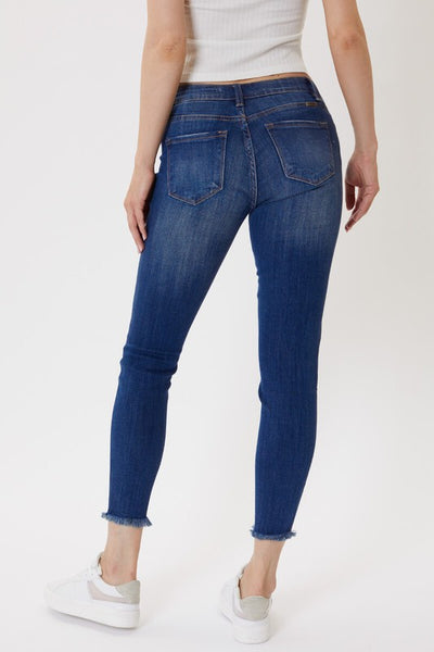 Mid Rise Button Fly Ankle Skinny Jeans