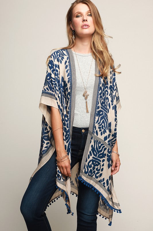 Leopard Printed Kimono with mini pom pom trim