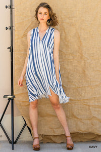 Striped Sleeveless Button Dress