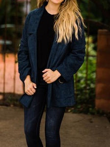 Suede Notched Lapel Coat