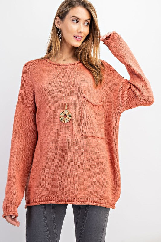 Boxy Coral Sweater