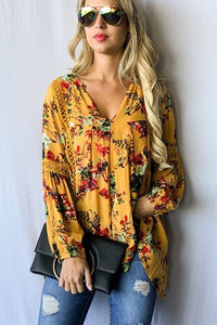 Floral printed with lace trim top