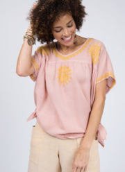 Blush Short Sleeve Blouse