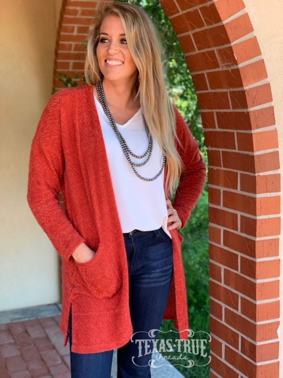 Red Fuzzy Cardigan