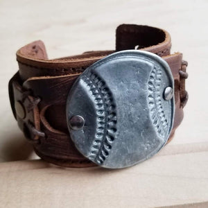 Baseball Distressed Leather Cuf