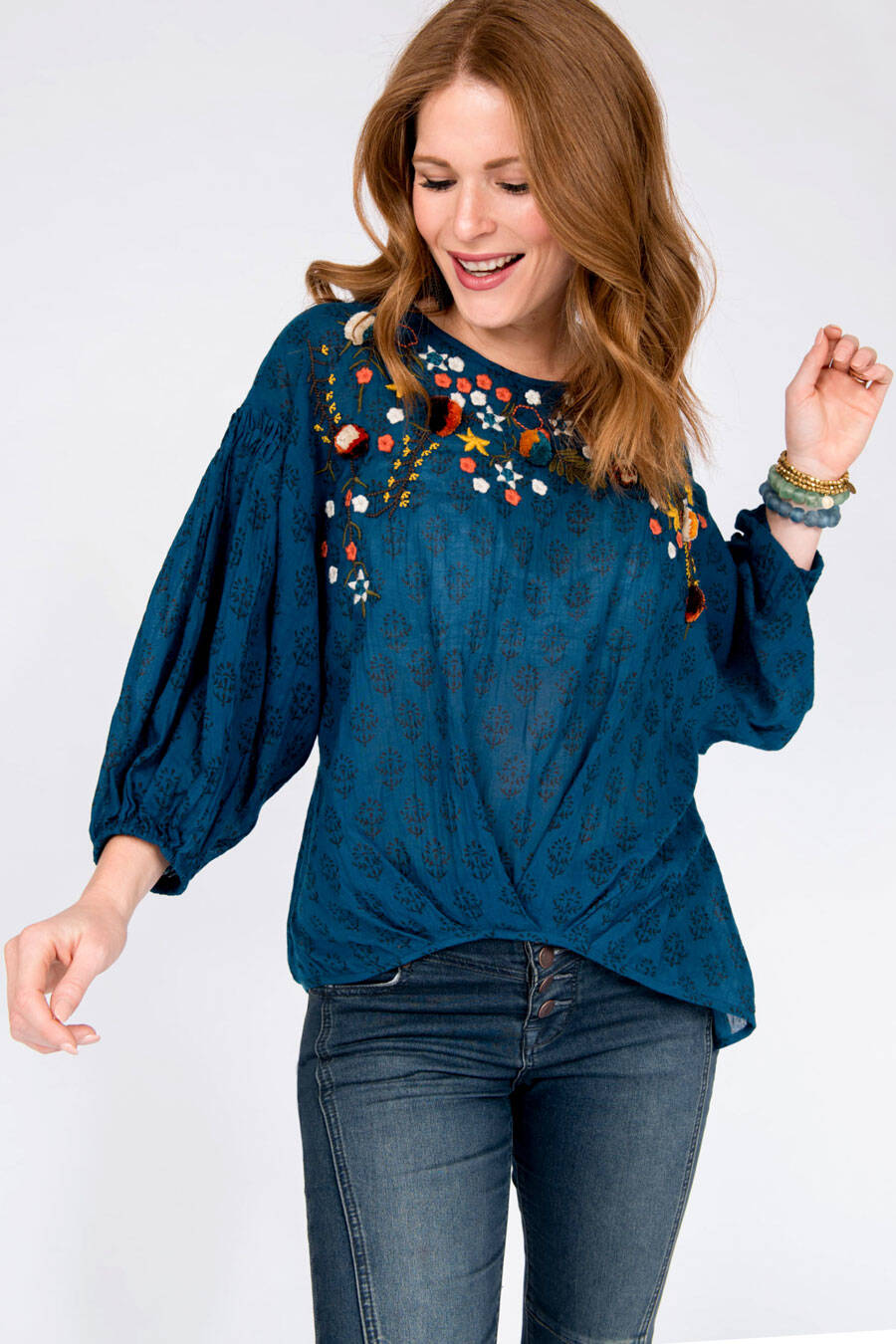 Ivy Jane Blouson Embroidered Top