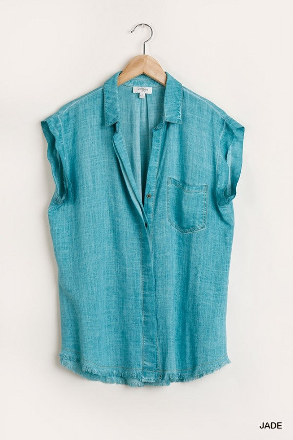 Frayed V Neck Top Jade