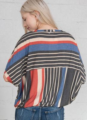 Cousin Earl Oversized Striped Pullover Top