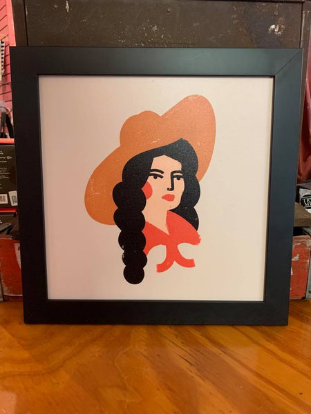 Retro Cowgirl framed art