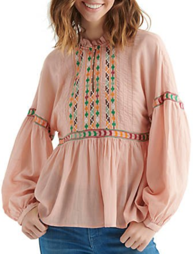 Lucky Embroidered Peach Peasant Top