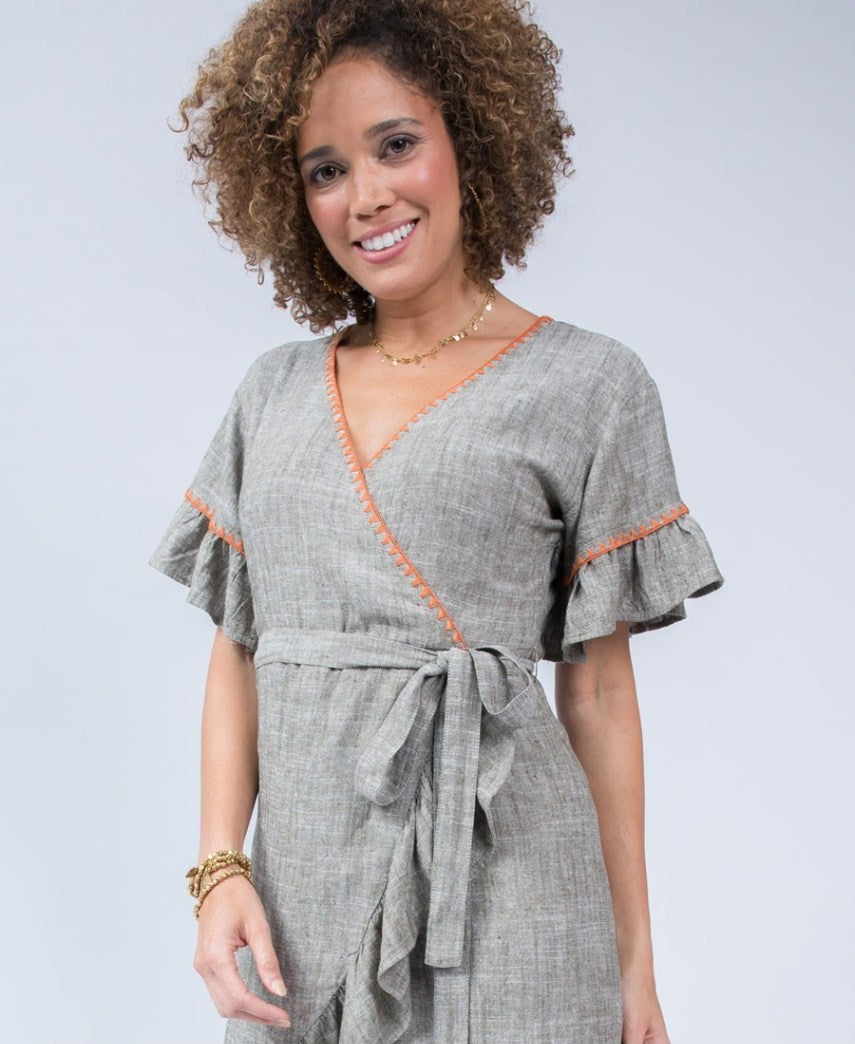 Uncle Frank Faux Olive Wrap Ruffle Dress