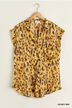 Animal print metallic top