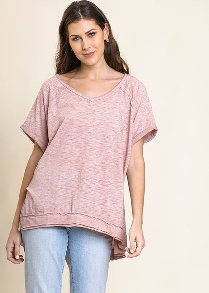 Blush V Neck with a Raw Hem