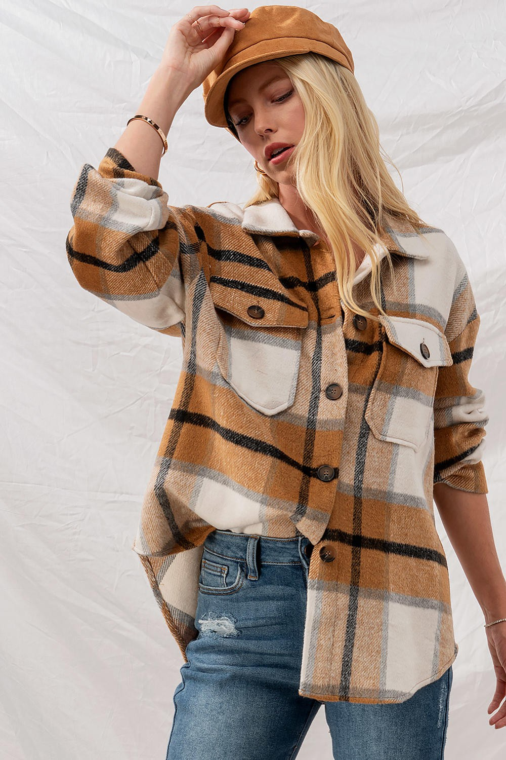 Brown Plaid Oversized Jacket