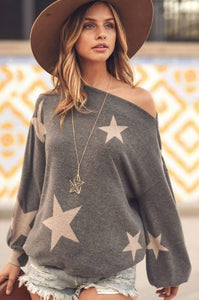 Off the shoulder grey star top