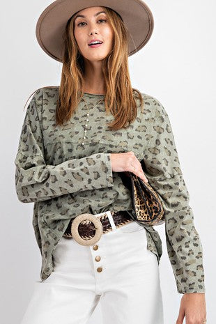 Faded Olive Leopard Top