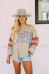 Sage Grey Leopard Oversized Top