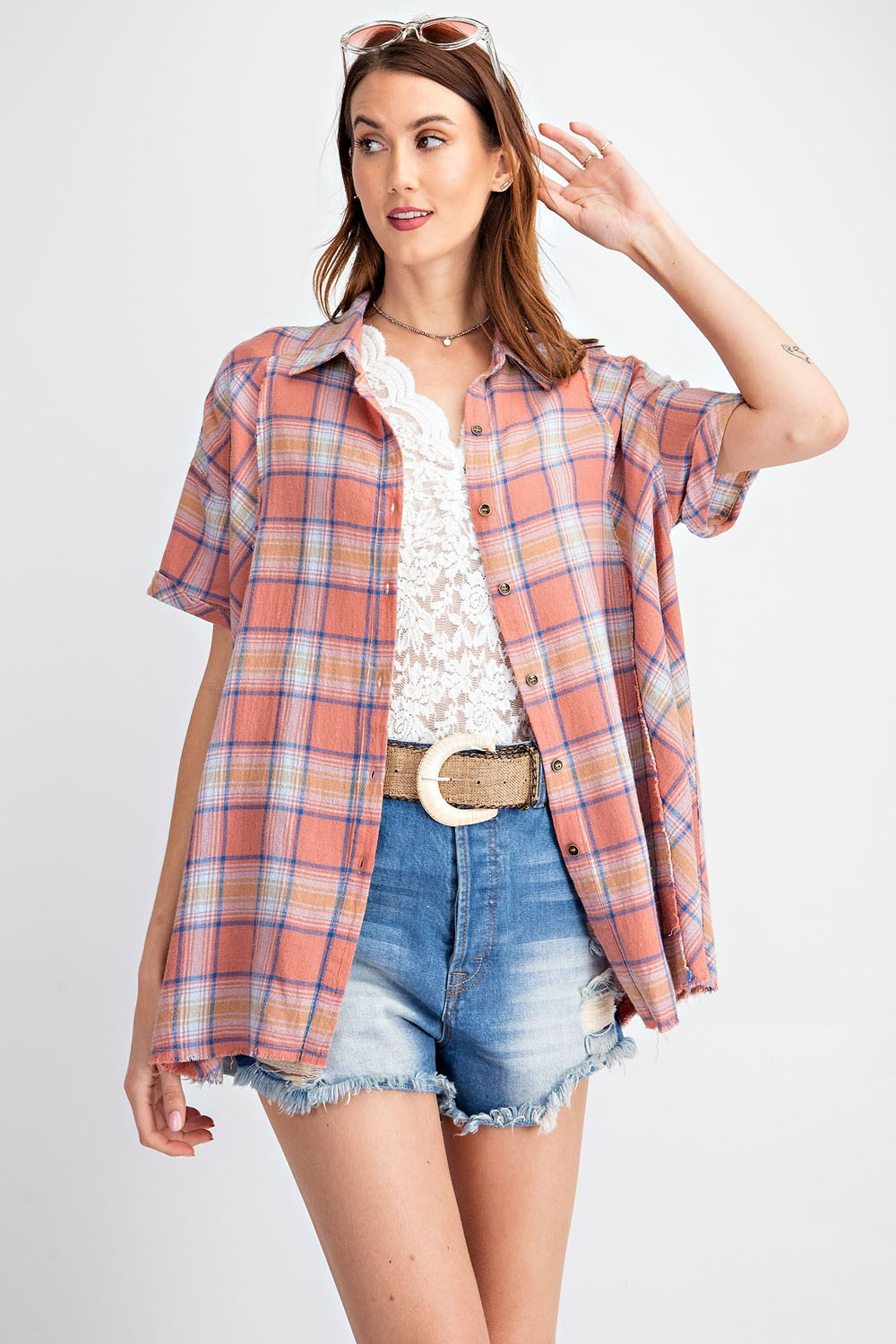 Faded Coral Plaid Button Down