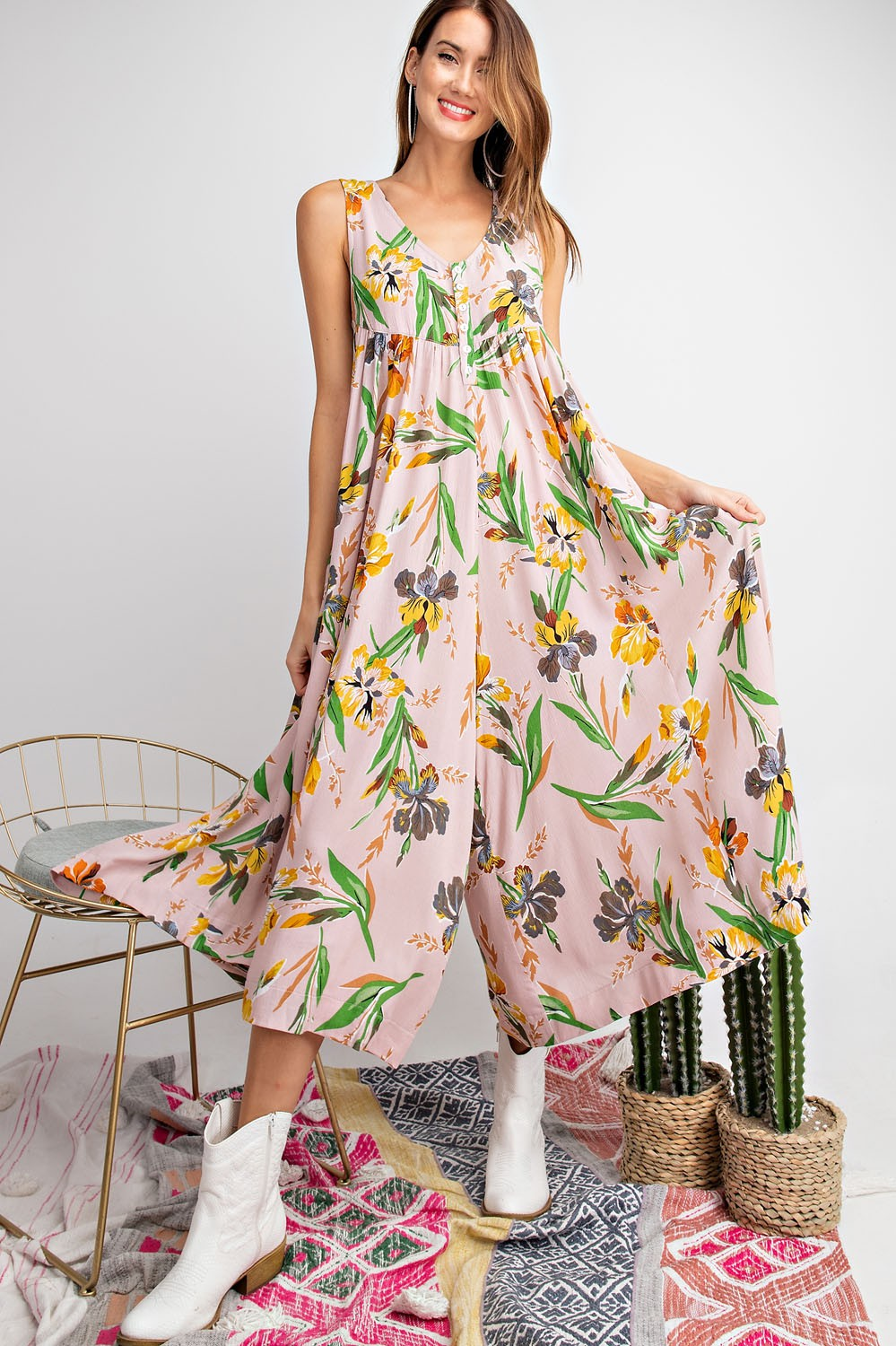 Sleeveless floral printed rayon romper