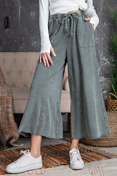Washed Terry Knit Wide Leg Pant