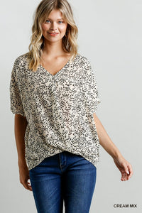 Sheer star v-neck top